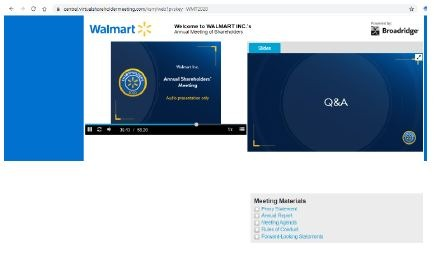 Images from Walmart's June 3, 2020 virtual-only shareholder meeting