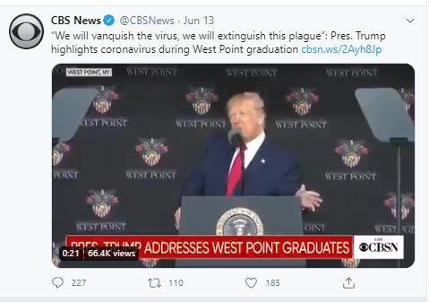 Pres. Trump highlights coronavirus during West Point graduation