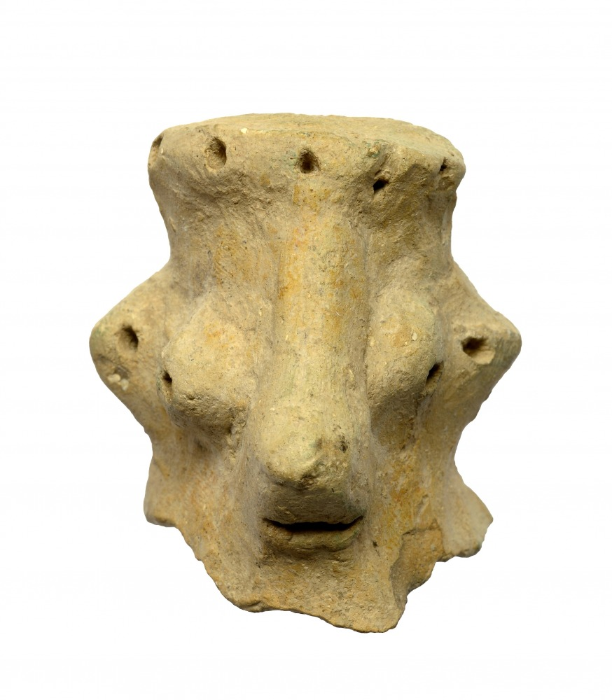 ראש גבר מחפירות חורבת קיאפה מהמאה העשירית לפנהס (צילום קלרה עמית, רשות העתיקות)