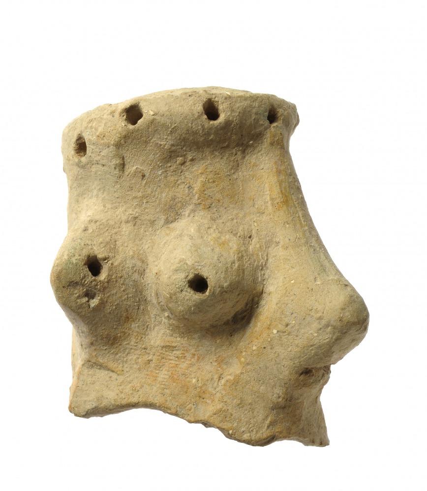ראש גבר מחפירות חורבת קיאפה, מהמאה העשירית לפנהס (צילום קלרה עמית רשות העתיקות)