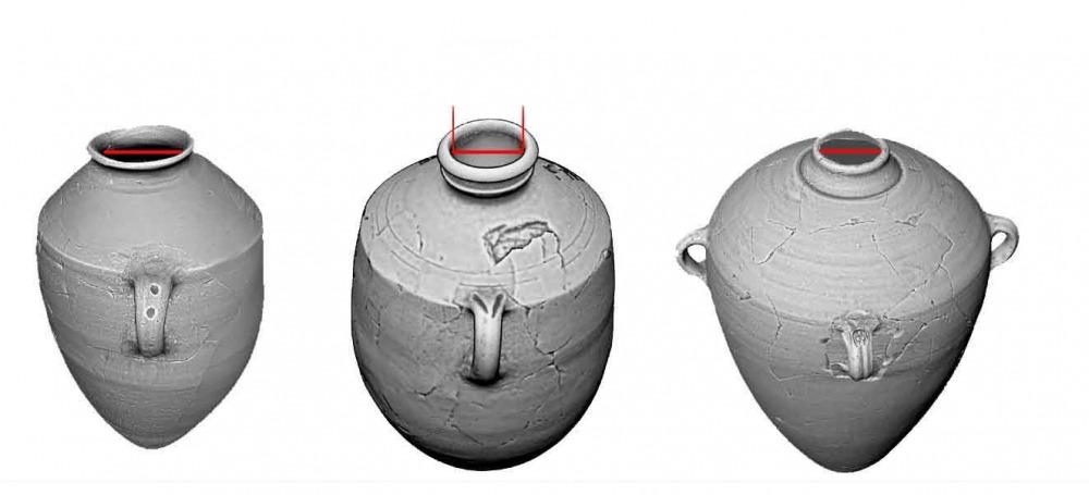 משמאל: קנקן מטיפוס 'קייאפה', קנקן מטיפוס 'היפו' וקנקן ממלכתי עם טביעת חותם מטיפוס 'למלך'. קוטר הפתח הפנימי מסומן בקו אדום.