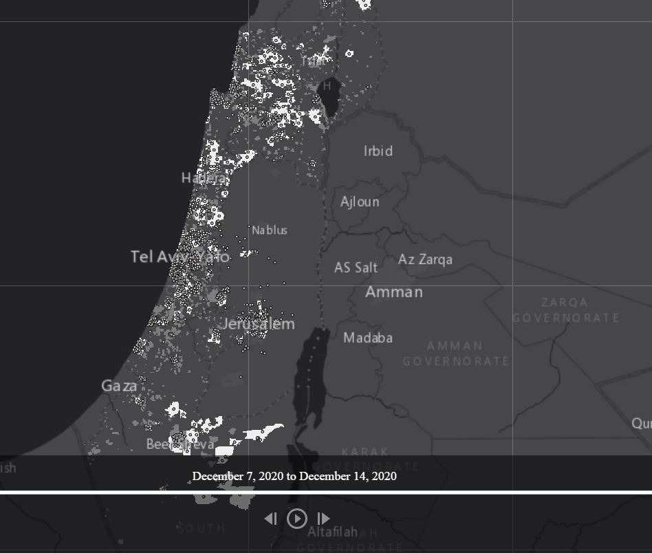 מפת התחלואה המצטברת לפי אזור סטטיסטי