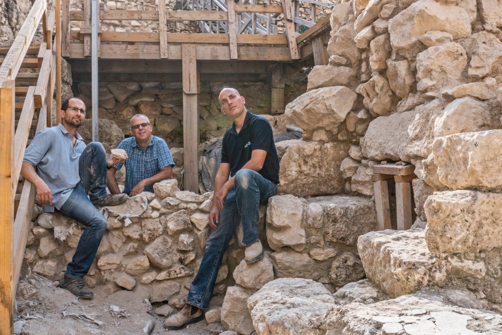 Left to Right-Yoav Vaknin Prof. Gadot Dr. Shalev. Photographer Shai Halevi Israel Antiquities Authority