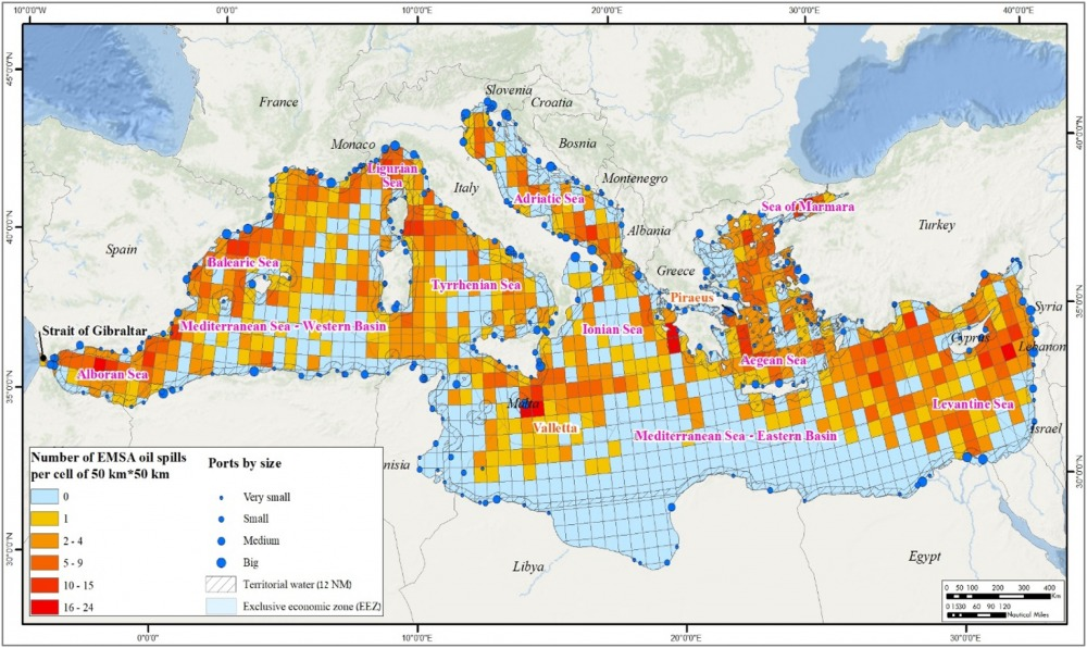 The distribution of 2066 EMSA oil spills in the Mediterranean Sea for the period 2015–2017