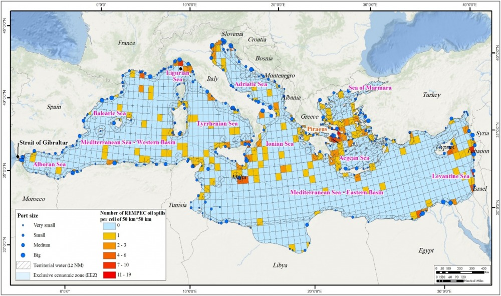 The distribution of 385 REMPEC spills in the Mediterranean Sea for the period 1977–2000